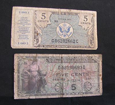Lot of 2 US 5 Cents Military Payment Certificates MPC - 481 & 472