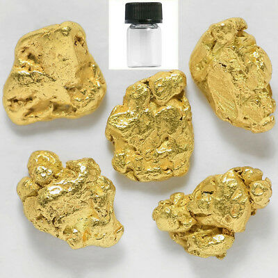 5 Pieces Alaskan Natural Gold Nuggets with BOTTLE - FREE SHIPPING (#718j)