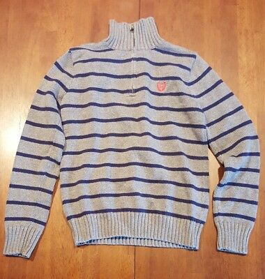 Chaps Boy's Gray With Blue Stripes Knit Sweater, M (10/12)