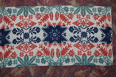 Primitive Three Colored Star Antique Woven Coverlet Piece Very Nice