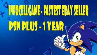 Playstation Plus - 1 Year - For Ps3, Ps4 - Fast Send - Works In All Countries