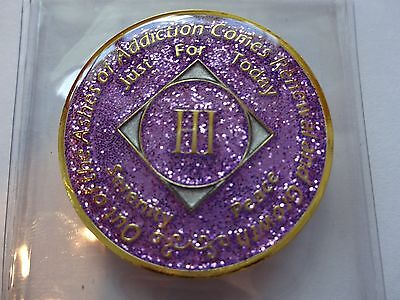NA Purple Glitter Coin 3 Year Tri-Plate Narcotics Anonymous Medallion Case&Stand