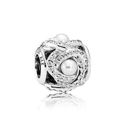 Genuine Pandora Luminous Love Knot White Crystal Pearl & Clear CZ 792105WCP
