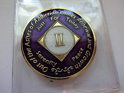 NA Purple Ivory Coin 2 Year Tri-Plate Narcotics Anonymous Medallion +Case&Stand