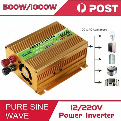 Pure Sine Wave Power Inverter500W(Peak1000W) DC 12V to AC 220V Car*