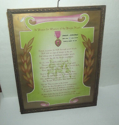 Neat Vintage Purple Heart Certificate For Soldier Wounded Ww I Issued 1940's