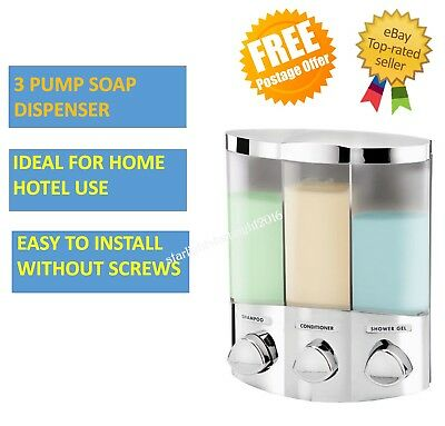 3 Pump Shower Soap Dispenser Bathroom Wall Mounted Shampoo Conditioner Gel Hotel