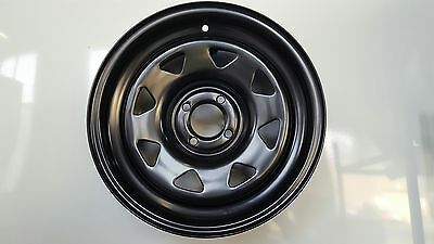 4 x Black Drift Steel Rims 15x7 4/100 with staggered offset 67.1 CB JDM