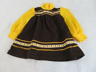 Vintage 70s Toddler Girls Yellow brown Fly collar rick rack embroidered design