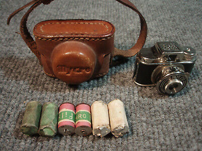 Mycro Subminiature Camera.Leather Case+Film Made In Japan.Vintage Antique spycam
