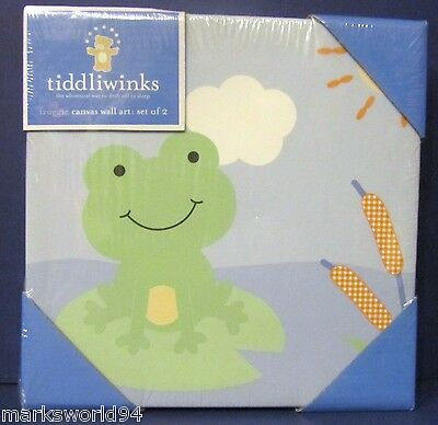 NEW Tiddliwinks FROGGIE Canvas Wall ART 2 Pictures Prints Frog
