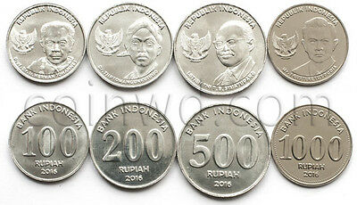 Indonesia 4 coins set 2016 Famous people UNC (#3163)