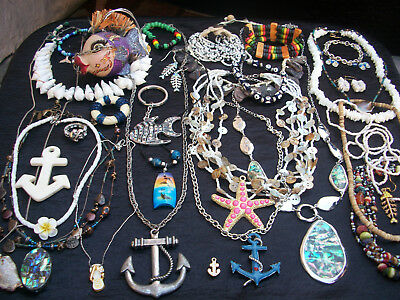 Cute Lot Of Vintage/now Costume Jewelry Beachy Nautical Surfer Pieces