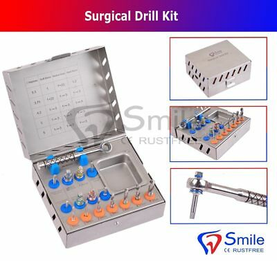Dental Surgical Drill Kit 16 Pcs Set Implant Instrument Tool Ratchet Smile Dent