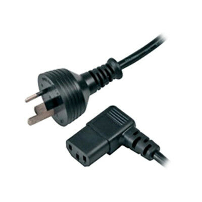 Power Cable from 3-Pin AU Male to IEC C13 Female - Right Angle plug in 2m