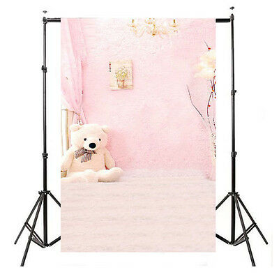 3x5FT Vinyl Backdrop Indoor Baby Child Pink Bear Photography Background Backdrop