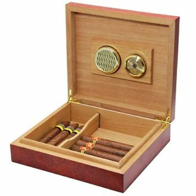 20 Count Brown Cedar Wood Lined Cigar Humidor Humidifier w/ Hygrometer Case Box