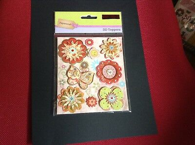 1 BRAND NEW PACK 3D Toppers In Butterflies X Flowers FOR CARD MAKING.
