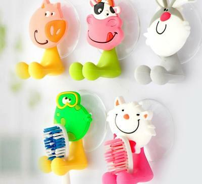 New Cute Animal Silicone Toothbrush Holder Home Wall Bathroom Hanger Suction