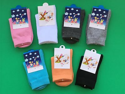 NEW Kids Girls Boys Hosiery Casual Breathable Solid Cotton Socks 4-6 7-9 years