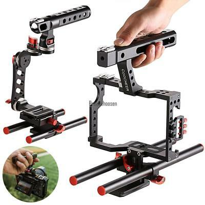 Professional Rod Rig DSLR Camera Video Cage Kit Stabilizer Top Handle Grip hot