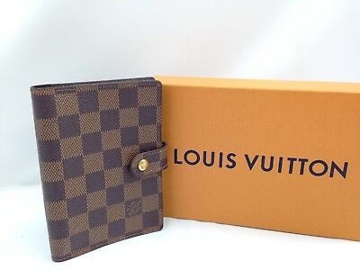 Authentic Louis Vuitton Damier Agenda PM Day Planner Cover Brown 7i220280#