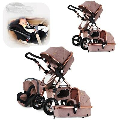 ❥ 3 in 1 Pro Baby Stroller High View Pram Foldable Pushchair Bassinet & Car Seat