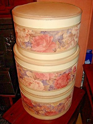 Luxury Hat Storage Boxes job lot set of 3 vintage old fashioned type creamy pink