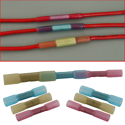 100x Electrical Heat Shrink Insulated Butt Crimp Terminals Wire Cable Connectors