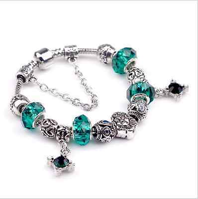New Fashion European Style With Green Crystal Glass Beads Charm Bracelet Jewelry