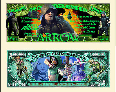 Green Arrow - DC Comics & TV Series Character Million Dollar Novelty Money