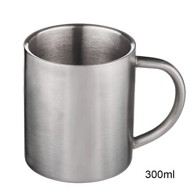 New Double-layer Stainless Steel Thermal Drinking Cup Insulated Coffee Mug 300ml