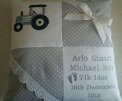Personalised Embroidered Baby Cushion Tractor Design