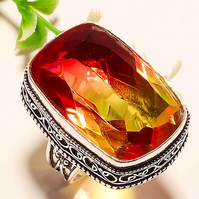 Bi-Color Tourmaline Vintage  Gemstone 925 Sterling Silver  Jewelry Ring 7.5