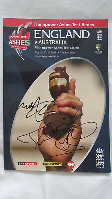 Signed Ashes Cricket 2009 Final Test Programme by Anderson Broad Harmison