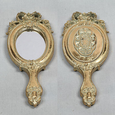 Antique Gold Vanity Mirror Ribbon Hand Held Mirrors Beauty Dressing Table Gift