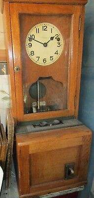 Antique time recorder clock clocking in machine with key, Somerset or courier