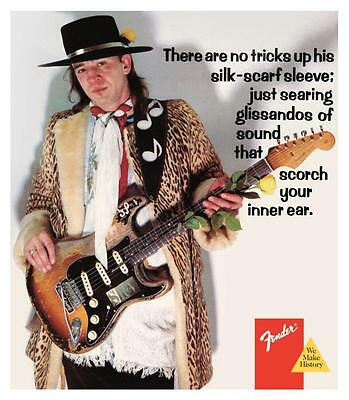 Stevie Ray Vaughan  **LARGE POSTER** Fender Stratocaster ad Blues Guitar Master