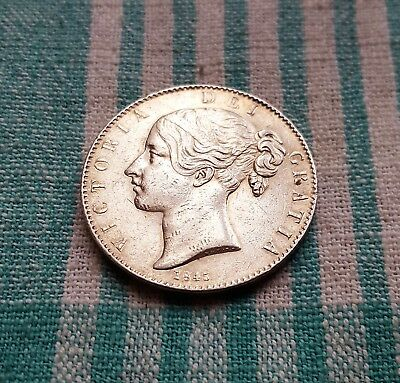 Victoria 1845 silver Crown, Young Head, Cinquefoil stops VF+