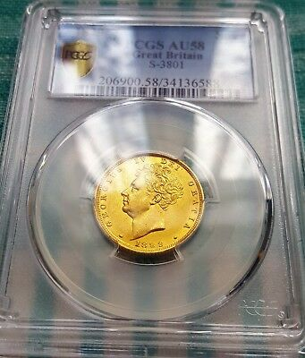 Scarce 1829 George IV full Gold Sovereign Graded PCGS AU58