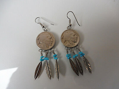 beautiful ,old earrings__earrings__silver__WITH Coins and turquoise__