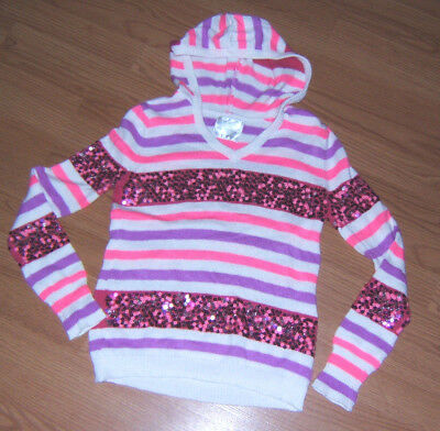Girls Size 12 Justice Hooded Pink Purple & White Striped Sequin Sweater