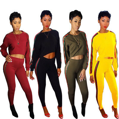 2pcs Women Long Sleeve Bandage Bodycon Jumpsuit Playsuit Casual Sporty Rompers