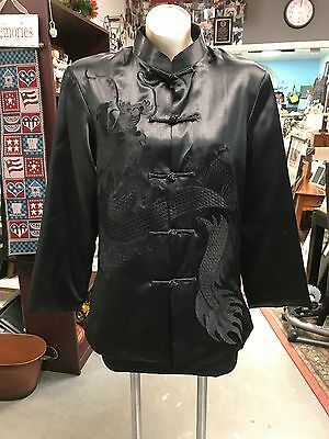GORGEOUS, Black Silky Dragon Embroidered Asian XL Jacket by Deliniao