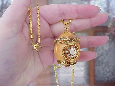 REAL Quail Egg Locket Necklace Peach Enamel Hand Made Decorated Trinket Box Gift