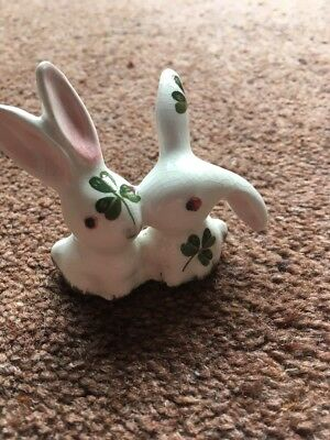 Vintage Plichta Ornament Of  Two Rabbits Kissing