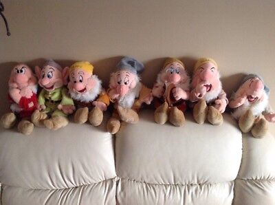 """Disney Store Seven Dwarfs -14"""" Plush Toys - All Disney Stamped FULL COLLECTION"""