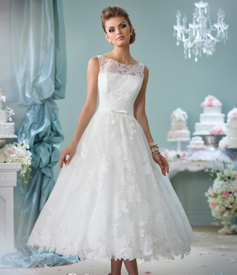 NEW LACE TEA Length Wedding dress Formal Bridal Gown Party Dress ...