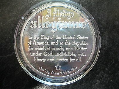 1 Oz .999 Fine Silver Pledge Of Allegiance Proof Coin With Flag And Eagle