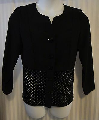Black Sequin Blazer Open Cage Bottom Half Large Buttons VTG Size Small